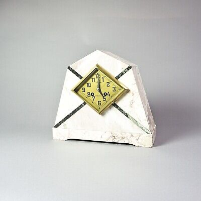 Marble French Art Deco Mantle Clock Kaminuhr Marmor Ch. Chabot La Roche V.EH