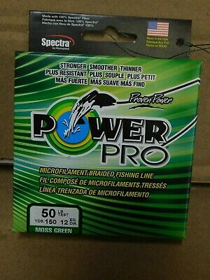 Power Pro Spectra Microfilament  Braided Fishing Line,Moss Green,150YD/50LB