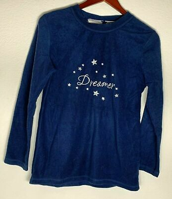 """Love To Lounge Women's Small Navy Blue Pajama Sweater """"Dreamer"""" Printed"""