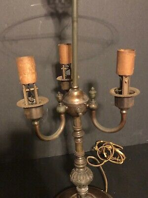 Antique 3 arm Gas Student Table Lamp converted electric ornate finial BARN FIND