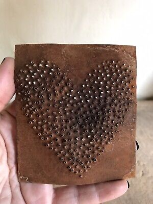 Small Hand Punched Pierced Tin Heart Panel Rusty Patina Antique Inspired AAFA