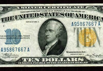 $10 1934 A (( NORTH AFRICA ))  Silver Certificate * MORE PAPER CURRENCY FOR SALE