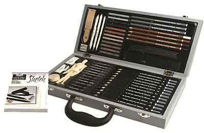Deluxe Sketching Box Set Drawing Pad Pencils Pastels Charcoal Mannequin Sket2000