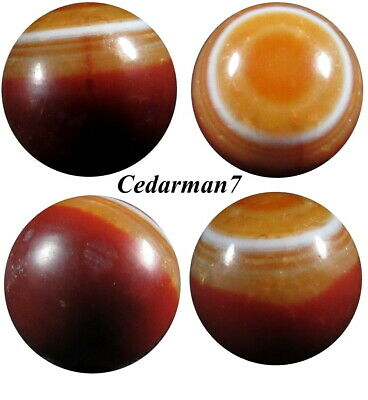 "Cedarman7> Vintage Played With 3/4"" German Bullseye Banded Agate Shooter Marble!"