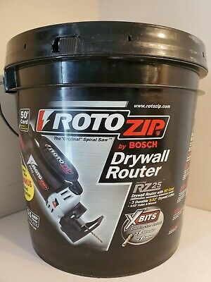 RotoZip Bosch RZ25-1100 Drywall Router Spiral Saw w/Bucket 50' Cord Wrench Bits
