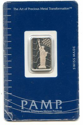 Avc- Pamp Suisse 5 Gram Platinum Bar .9995 In Assay - Statue Of Liberty