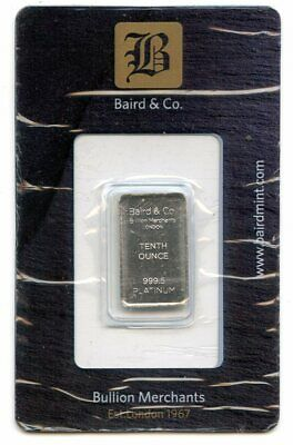 Avc- Baird & Co. 1/10 Oz Platinum Bar .9995 In Assay