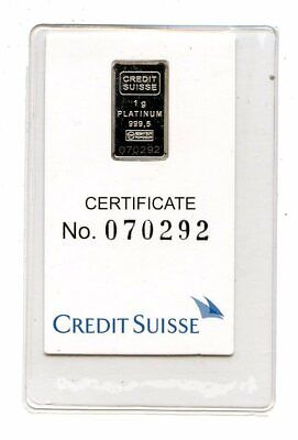 Avc- 1 Gram Platinum Bar Credit Suisse In Assay Card - Statue Of Liberty