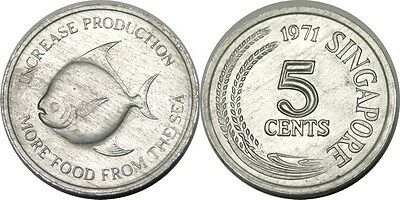 elf Singapore 5 Cents 1971 FAO  Pomfret Fish