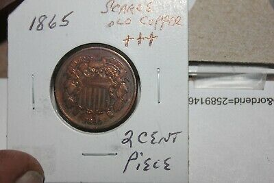 1865    Scarce Old Copper  Two Cent Piece