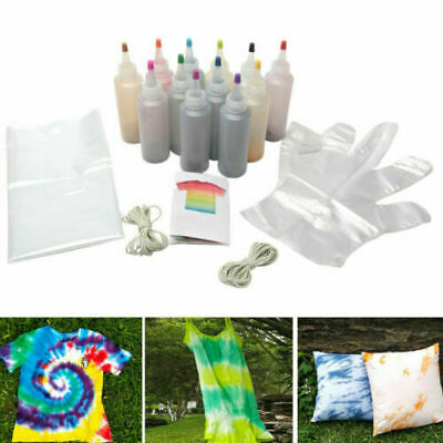 12pcs/set One Step Tie Dye Kit Vibrant Fabric Textile Permanent Paint Tool DIY
