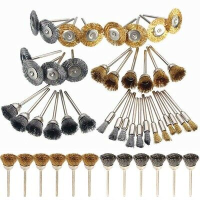 36X Wire Steel Brass Brushes Polishing Brush Wheels Set for Dremel Rotary Tool!