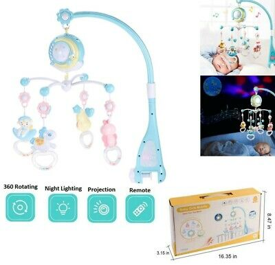 Musical Mobile Projection Baby Crib Nursery Lights Bed Crib Cot Remote Control