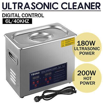 New Digital 6L Stainless Steel Ultrasonic Cleaner Industry Heated Heater w/Timer