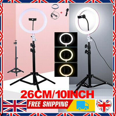 """10"""" LED Ring Light with 1.6M Stand for Youtube Tiktok Makeup Video Phone Selfie"""