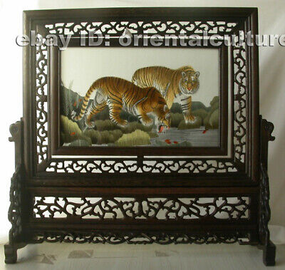 Chinese 100%hand embroidered suzhou double sided embroidery: tiger leopard