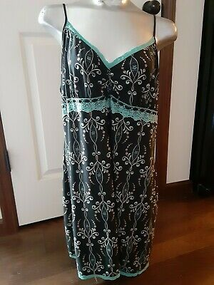 Linea Donatella Night Gown Chemise Pajamas Size XL Black Teal