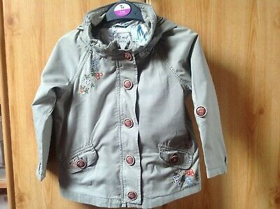 NEXT Girls Lovely Embroidered Lightweight Jacket Concealed Hood Age 3 - 4 Years