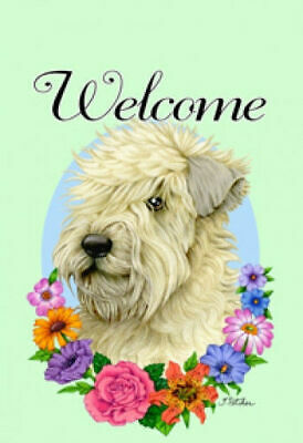 Welcome Flowers House Flag - Wheaten Terrier 63056