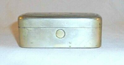 Antique Travel Double Glass Inkwell in Metal Box with Hinged Decorated Lid