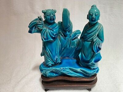 """Antique Chinese turquoise glazed porcelain figural group 5.5"""" + stand Qing 19thC"""