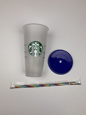 2020 Pride Starbucks Confetti Color Changing Cup with Colorful Straw and Lid