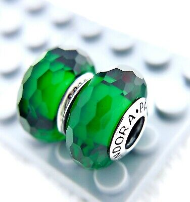 2PC  Murano Fascinating Green Charm Beads #321 Pandora Silver 925 ALE MARKED
