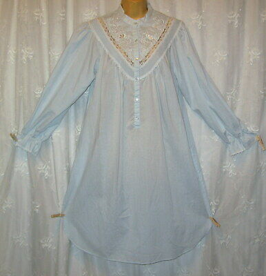 Vtg Small Gilligan O'malley Victorian Blue Embroidered Lace Trim Nightgown Gown