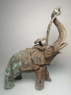 Chinese Exquisite Old bronze handmade Build beast pattern Elephant
