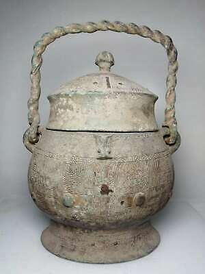 Chinese Exquisite Old bronze handmade Build beast pattern Lifting pot Jar