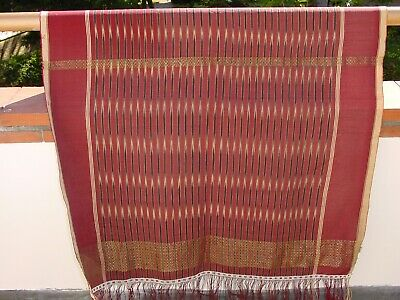 Wonderful Antique Ikat Weaving Ulos With Goldbroc  Tobo Batak Indonesia ***Hg***