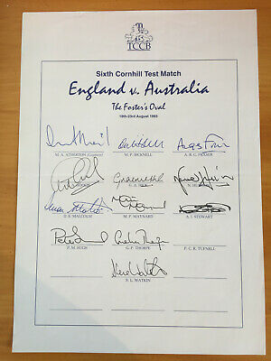 1994 Signed by 13 England Texaco Trophy Team Sheet v South Africa atherton capt
