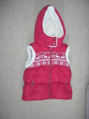 GIRLS NEXT - PADDED GILET JACKET WAISTCOAT BODYWARMER FUR HOOD PINK/CREAM 7-8yrs