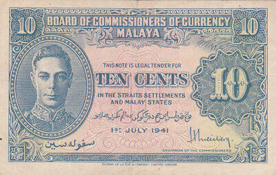 10 Cents Very Fine Banknote From British Colony Of Malaya 1941 Pick-8