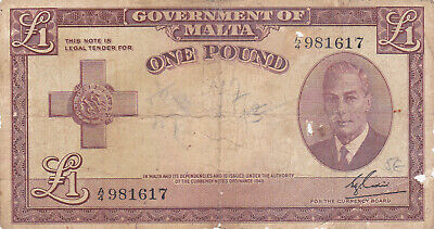 1 Pound Vg  Banknote From Malta 1949-51 Pick-22