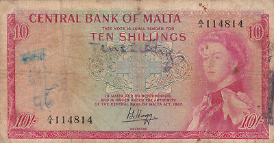 10 Shillings Vg  Banknote From Malta 1968 Pick-28