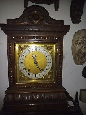 Antique Oak Bracket Clock With Victorian Mahogany Bracket