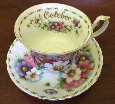 Royal Albert Bone China England Cup + Saucer Flower Of The Month October Cosmos