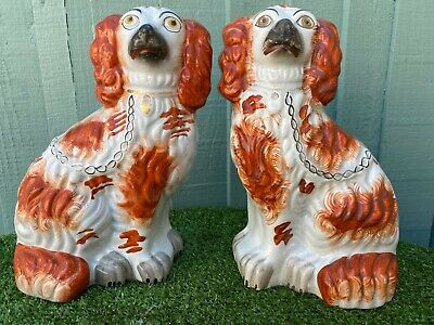 SUPERB PAIR of MID 19thC STAFFORDSHIRE RUSSET RED & WHITE SPANIEL DOGS c1850s