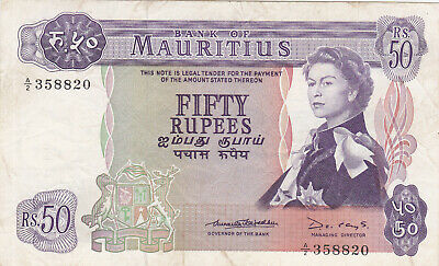 50 Rupees Fine Banknote From British Mauritius 1967 Pick-33  Rare Qeii