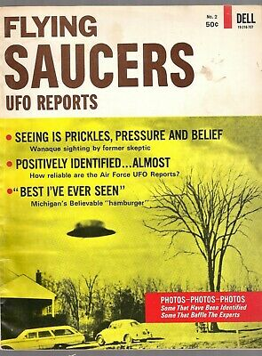 Flying Saucers UFO Reports Issue #2 Vtg Orig 1967 Dell Magazine Aliens Photos