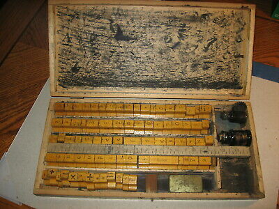 Wood Chest With Antique Ink Stamps Printing Blocks