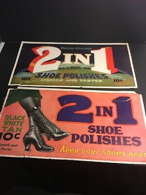 Vintage Cardboard Posters 2 In 1 Shoe Polishes Boots Black White Tan 11x21 Signs