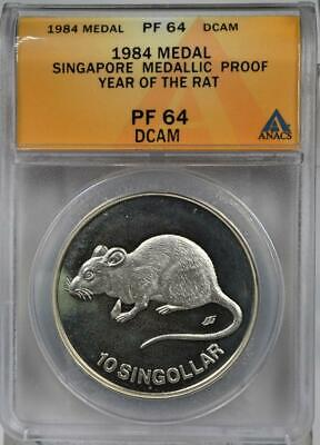 1984 Singapore 10 Singollar Year of the Rat .999 Silver KM X# MBA2 38mm 1oz Pure