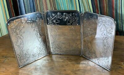 Antique Solid Sterling Silver Tri-Fold Etched Dresser Screen/Mirror