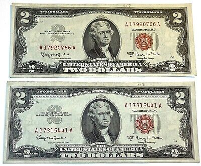 LOT OF TWO (2) 1963 USA $2 UNITED STATES RED SEAL Small NOTES~VERY HIGH GRADE!