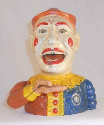 Old Cast Iron Humpty Dumpty Mechanical Penny Bank Book of Knowledge Reproduction
