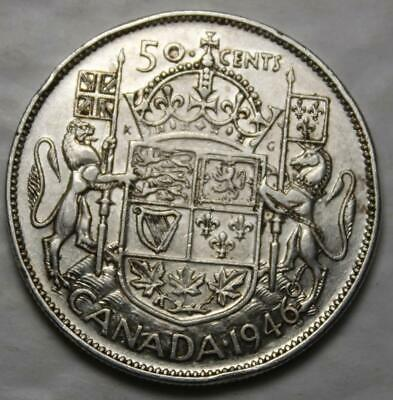 Canada 1946 Silver 50 Cents, Nice Grade, Better Old Date KGVI