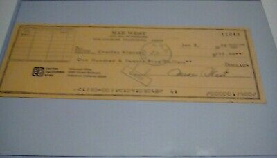 MAE WEST signed check