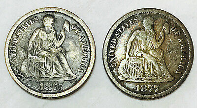 1875&1877 Cc Seated Liberty Dime! Incredible Set Of Cc Dimes!Ultra Rare Nr#16478